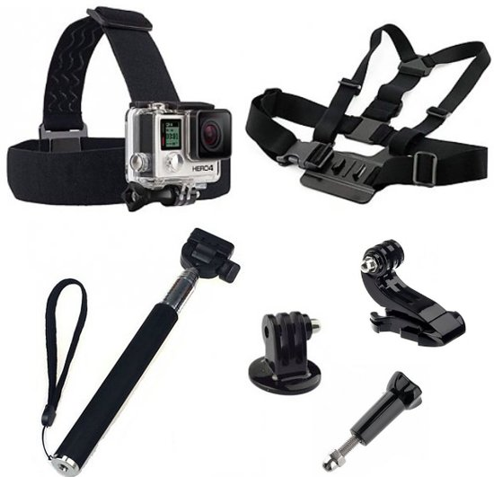 5 in 1 gopro accessoires set met selfie stick chest mount en head strap voor gopro he. Black Bedroom Furniture Sets. Home Design Ideas