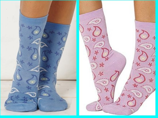f2c7feb25544b1 Bamboe dames sokken set van 2 paar - blauw en rose - paisley motief -  damessokken