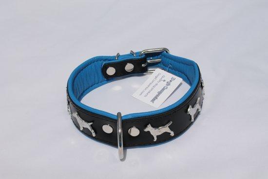 Dog's Companion Leren Halsband - Bull Terriër - 32-41 cm x 40 mm - Zwart/Blauw