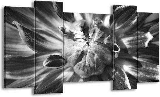 Schilderij | Canvas Schilderij Bloem | Zwart, Grijs | 120x65cm 5Luik | Foto print op Canvas