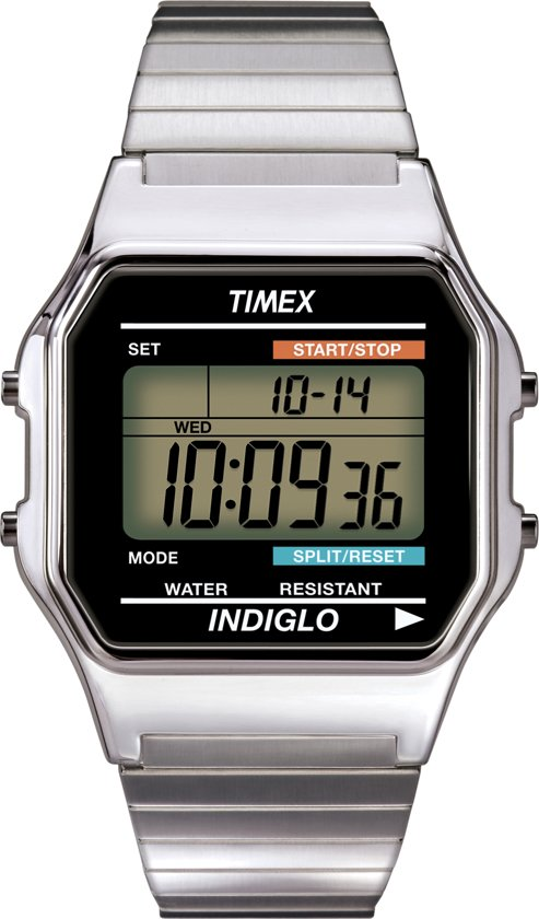Timex Men Digital Zilverkleurig - Horloge - 30 mm - Zilverkleurig