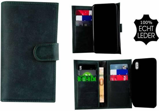 Pearlycase Echt Leer Double Bookcase Samsung Galaxy S9- Antiek Turquoise Hoesje