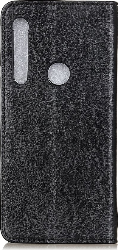 Mobigear Magnetic Buckle Retro Luxe Wallet Hoesje Zwart Motorola One Macro