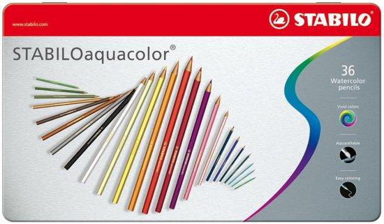 STABILO Aquacolor Kleurpotloden - Metalen Etui 36 stuks