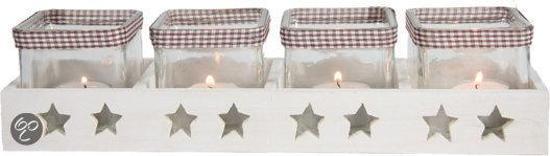 Decostar Tray Ster met 4 Glazen Kerst - Wit