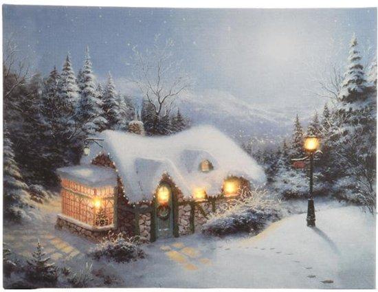 led canvas schilderij huisje