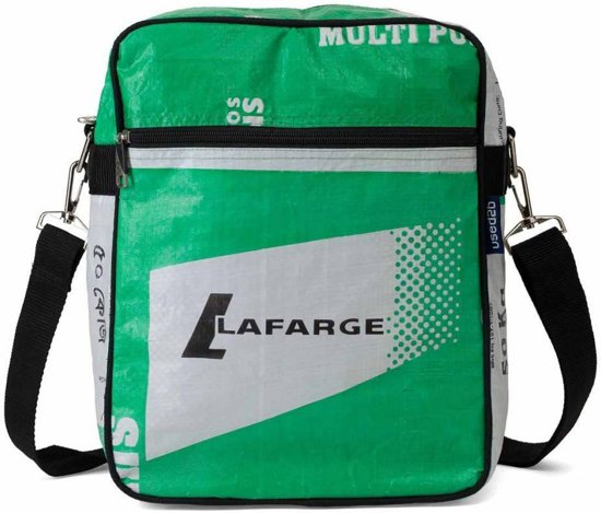 Used2b Messenger Lafarge Schoudertas upcycled - Cement -26 x 33 cm - Groen