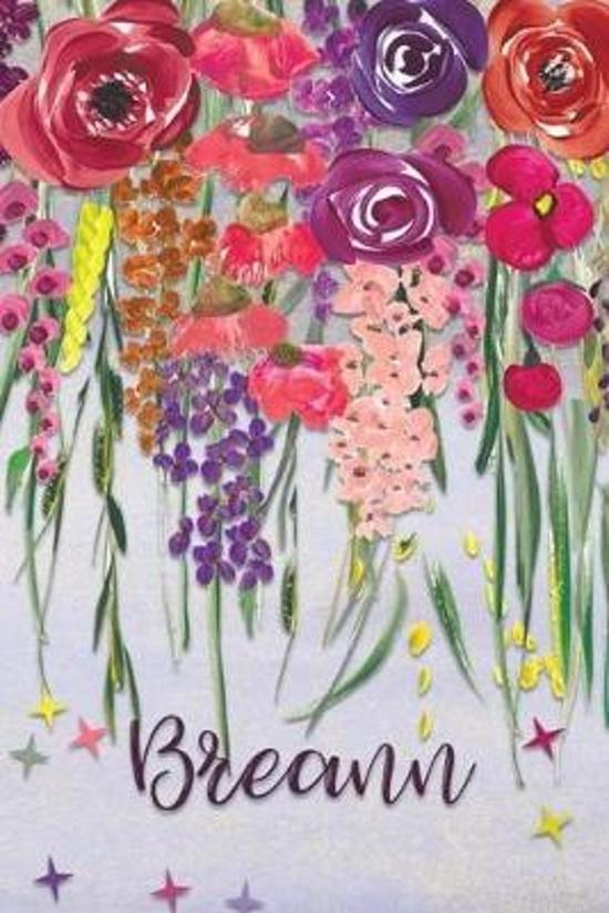Breann: Personalized Lined Journal - Colorful Floral Waterfall (Customized Name Gifts)