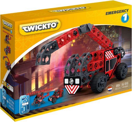 Twickto constructiespeelgoed – Brandweerauto / Brandweerwagen & Brandweer helikopter – Jongens speelgoed (6 - 99 jaar) – Constructie bouwset / bouwspeelgoed – Set Emergency #1 – 89 Delig
