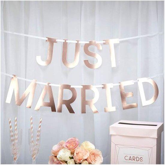 Neviti Geo Blush - 'Just Married' bruiloft slinger - rosé goud - 1,50 meter Valentinaa