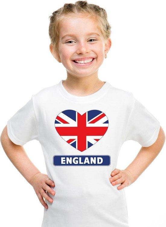 Engeland kinder t-shirt met Engelse vlag in hart wit jongens en meisjes XS (110-116)