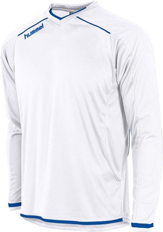 Hummel Leeds Sportshirt performance - Maat 140  - Unisex - wit/blauw