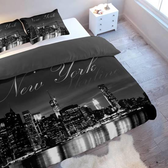 bol com   Nightlife Dekbedovertrek New York Skyline Black FLANEL   Tweepersoons