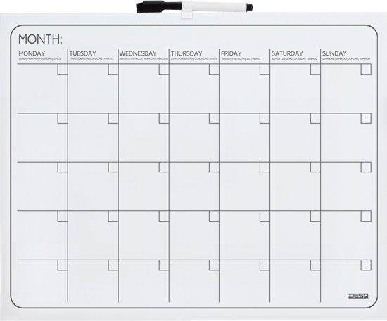 Desq maandplanbord zonder frame 40 x 50 cm