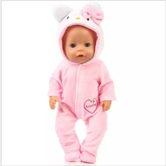Poppenkleertjes | Geschikt voor Baby Born | Muis onesie met slofjes | Roze | Happy | Pyjama