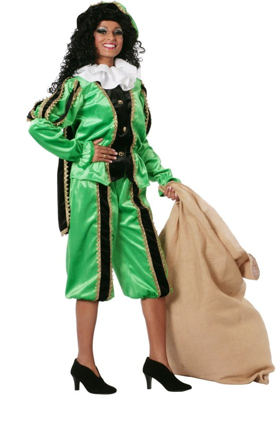 Zwarte piet zwart/groen imitatie fluweel voor volwassenen