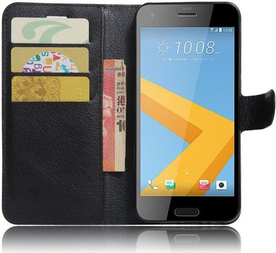 HTC One A9s Leren Portemonnee Hoesje Zwart in Wehe-den Hoorn
