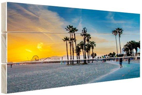 Venice beach zonsondergang Hout 60x40 cm - Foto print op Hout (Wanddecoratie)