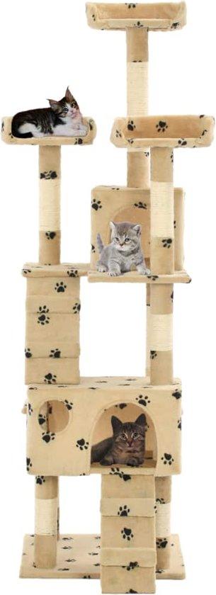 vidaXL Kattenkrabpaal met sisal krabpalen 170 cm pootafdrukken beige