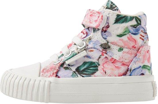 66891fa0e72 British Knights DEE Baby meisjes sneakers hoog - Lila bloemen - maat 26