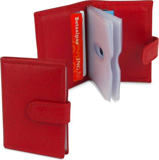 6bd941eb504 Creditcardhouder - Pasjesmapje - Pasjeshouder - Echt Leer - 22 pasjes - Rood