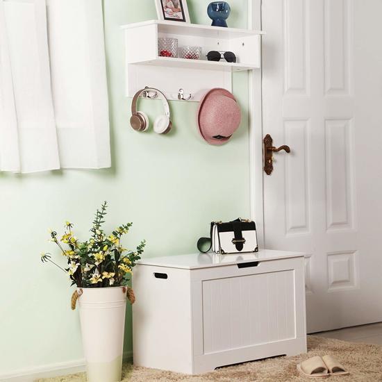 Grote Houten Koffer met Handvaten en Deksel - Kist voor Speelgoed, Lakens of Schoenen - 76cm breed en 48cm hoog - Wit