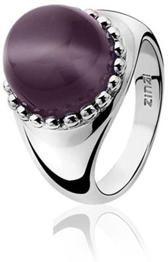 Zinzi - Zilveren Ring - Paarse Cateye - Maat 62 (ZIR792P62)