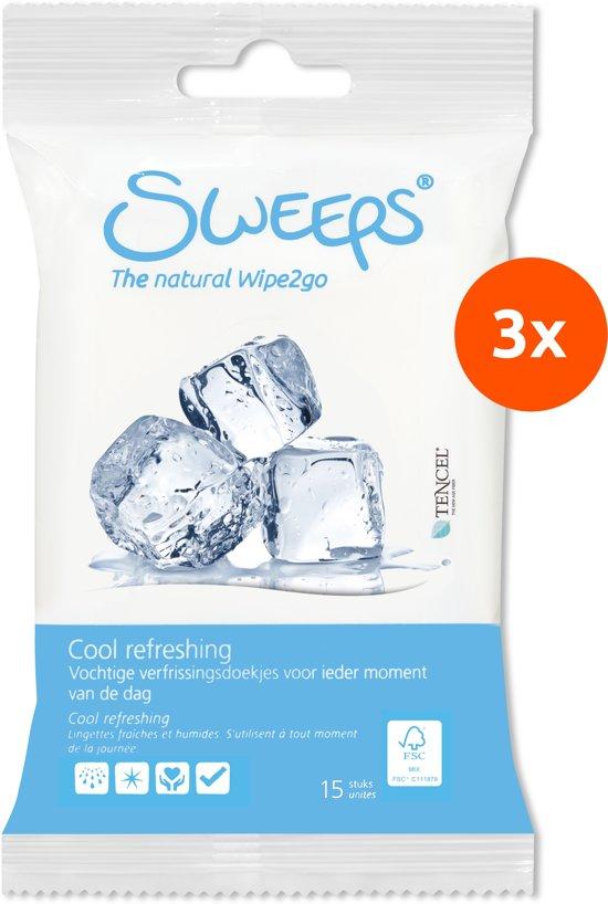 Sweeps Verfrissingsdoekjes (3 reisverpakkingen: 3x15 stuks)