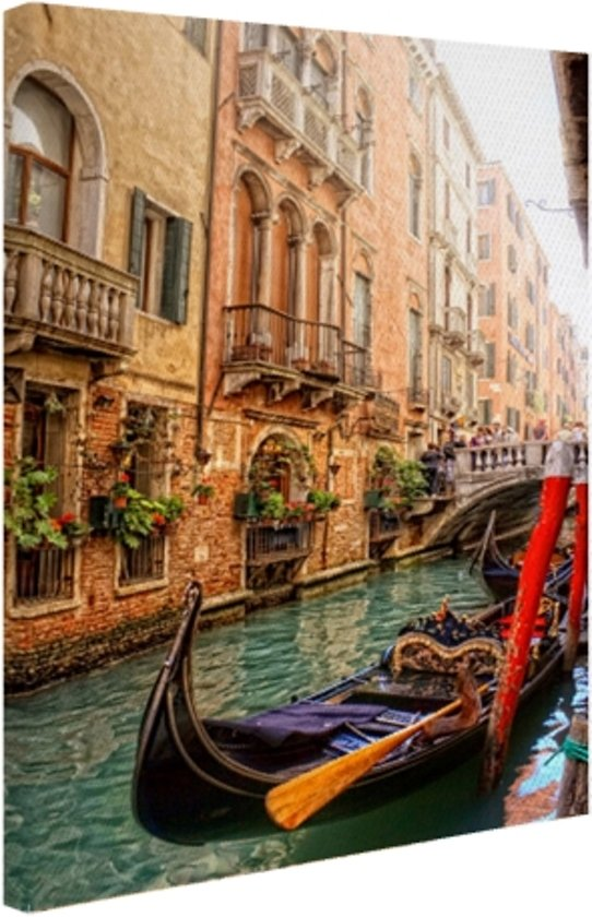 Kanaal Venetie Canvas 60x80 cm - Foto print op Canvas schilderij (Wanddecoratie)