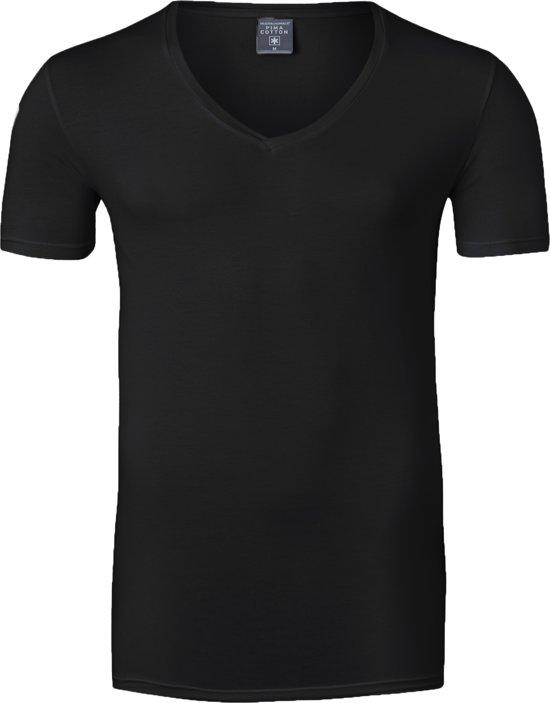 Muchachomalo T-shirt V-hals Pima Cotton - zwart -  Maat S