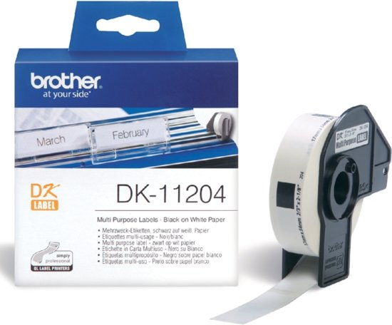 Label etiket brother dk-11204 17 mm x 54 mm wit