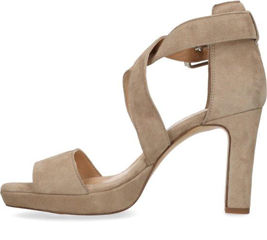 Manfield - Dames - Taupe sandalen met hoge hak