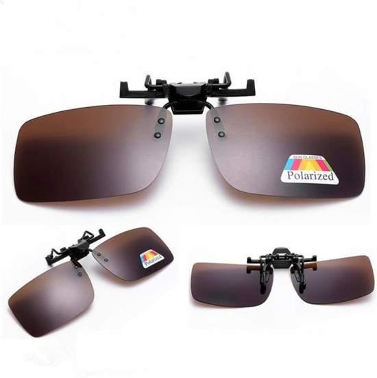 d4b62df0ba3ded Clip On Voorzet Zonnebril - Rechthoek Model - Donkerbruin - Maak van je  gewone bril een