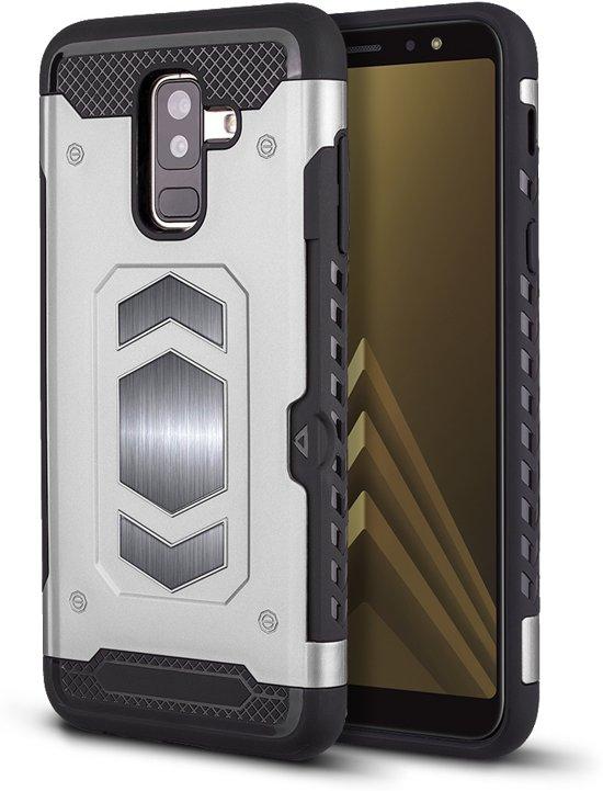 Ntech Samsung Galaxy A6 Plus Luxe Armor Case met Pashouder - Zilver