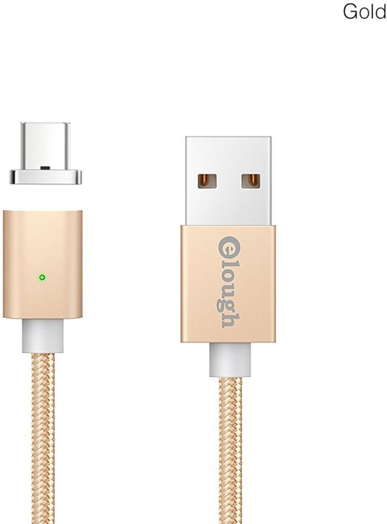 Elough ® E04 Magnetische Type C oplaadkabel - Magnetisch oplader 2.4A Fast Charge USB-C Snellader en Datakabel