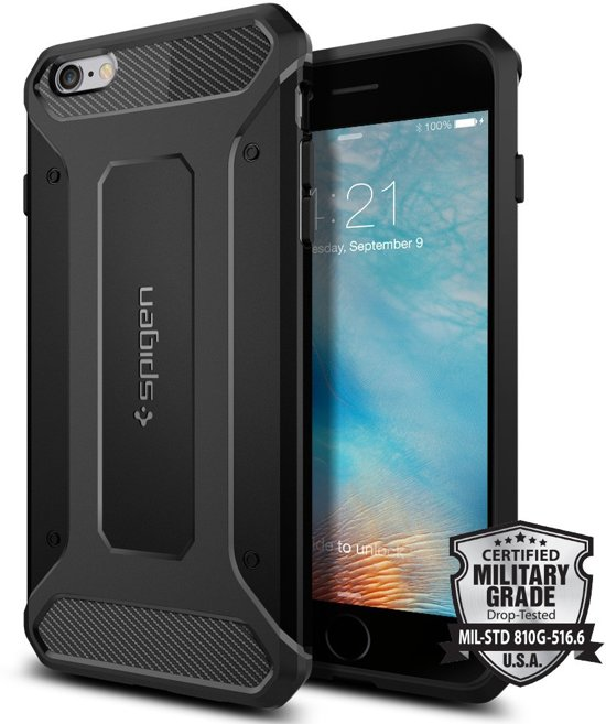 buy popular 0ab93 4b3a2 Spigen Rugged Armor voor Apple iPhone 6/6s Plus Back Cover - Zwart