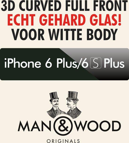 Man & Wood 3D CURVED Screenprotector / Schermbescherming ECHT GEHARD GLAS (Tempered Glass) - iPhone 6 Plus/6S Plus - WIT