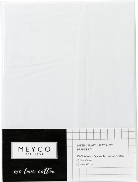 Meyco ledikantlaken uni - 100 x 150 cm - wit