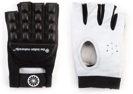 The Indian Maharadja Glove Short Finger Sr. - Hockeyhandschoen - Links - Maat XS - Zwart/ Wit