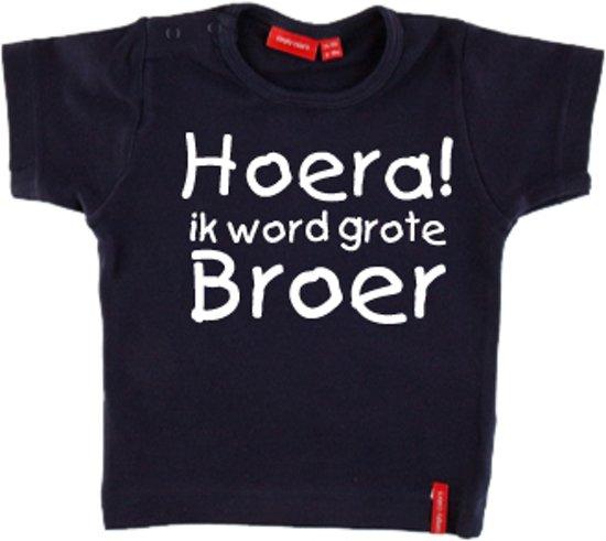 Genoeg bol.com | T-shirt korte mouw | Hoera! ik word grote broer| navy #LV06