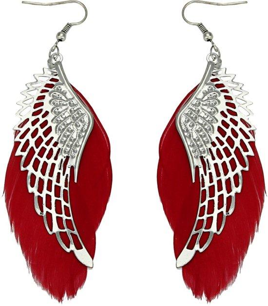 Fako Bijoux® - Oorbellen - Veren Met Vleugels - Rood