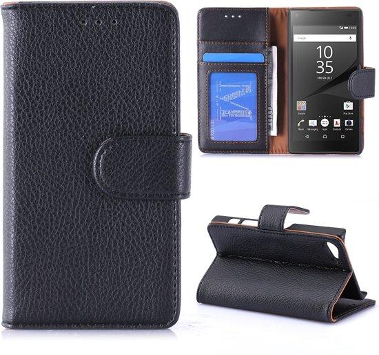 Sony Xperia Z5 Compact Bookcase Hoesje - Portemonnee Hoesje - Telefoonhoesje - Cover - Bookstyle Hoesje - Booktype Hoesje - Klap Hoesje - Flip Cover - Smartphonehoesje - Wallet Hoesje - Boek Hoesje - Book Case - Portefeuille Hoesje - Case - Bookstyle Case - Hoes - Beschermhoesje - Wallet Case - Litchi - Zwart in Vresse-sur-Semois