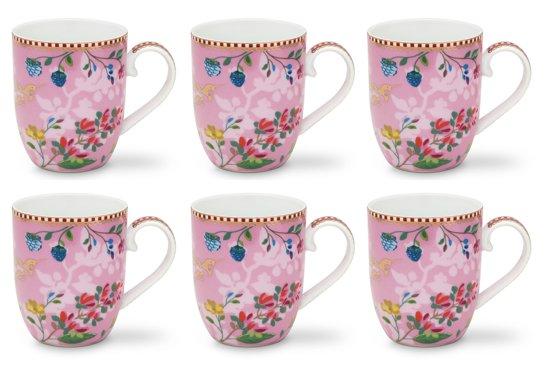 bol | pip studio floral mok klein hummingbirds roze - 6 stuks
