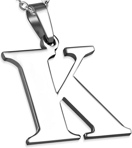 Amanto Ketting Letter K - Heren - 316L Staal - Alfabet - 24 x 25 mm - 60 cm