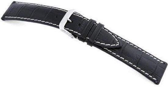 Rios1931 Horlogeband -  New Orleans Zwart - Leer - 18 mm