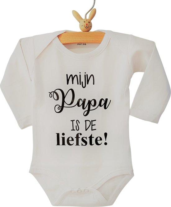 Baby Rompertje Tekst Papa Eerste Vaderdag Cadeau Mijn Papa Is De Liefste Lange Mouw Wit Zwart Maat 6268