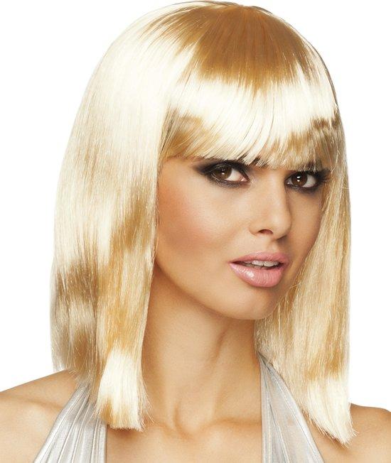 """""""Blonde half lange pruik voor vrouwen  - Verkleedpruik - One size"""""""