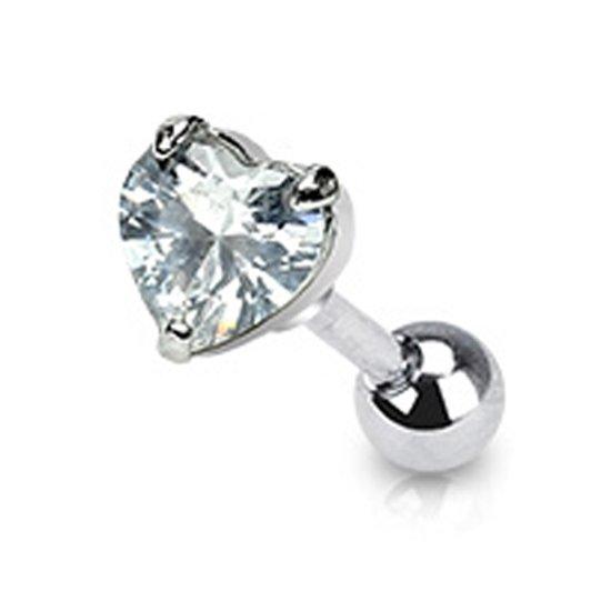Helix piercing hartje wit ©LMPiercings