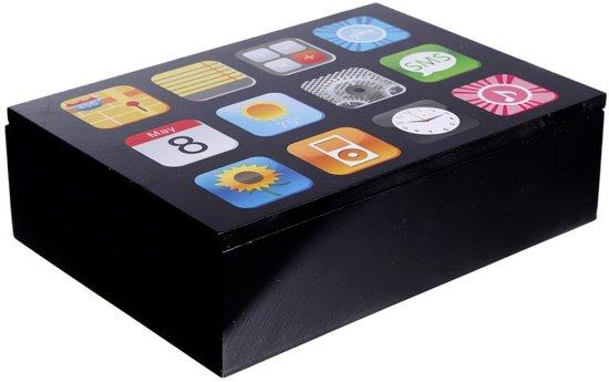 Opbergkistje/opbergbox smartphone apps opdruk 24 cm - Opbergers - Opruimen - Woonaccessoires