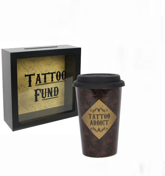 Tatoeage spaarpot en thermobeker tattoo fund addict